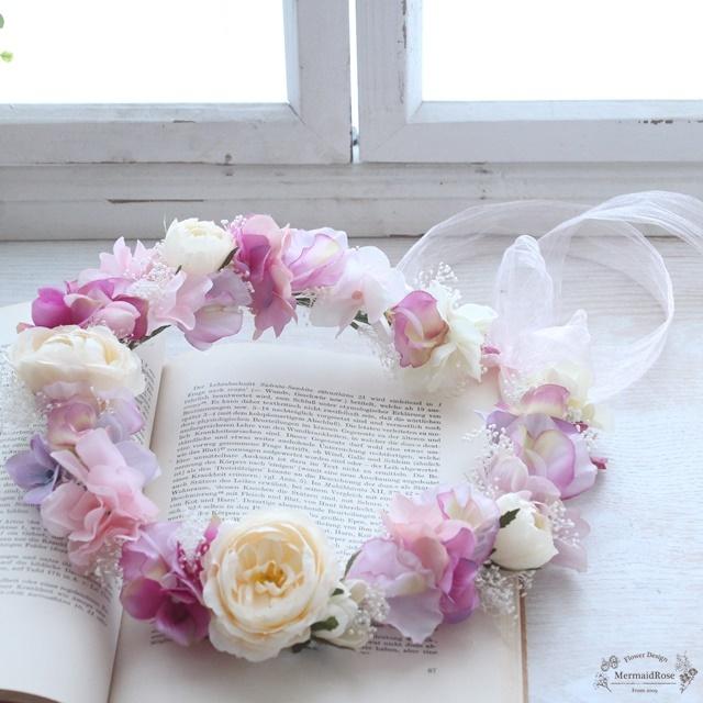 花冠*オールドローズ&スイトピー&アジサイ&かすみ草*ピンク系