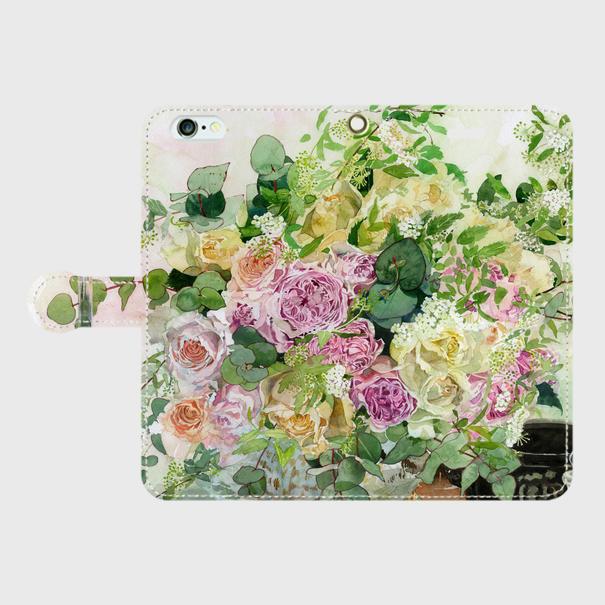 ★和バラとツマキチョウ 手帳型スマホケース iPhone6plus/6splus/7plus/8plus