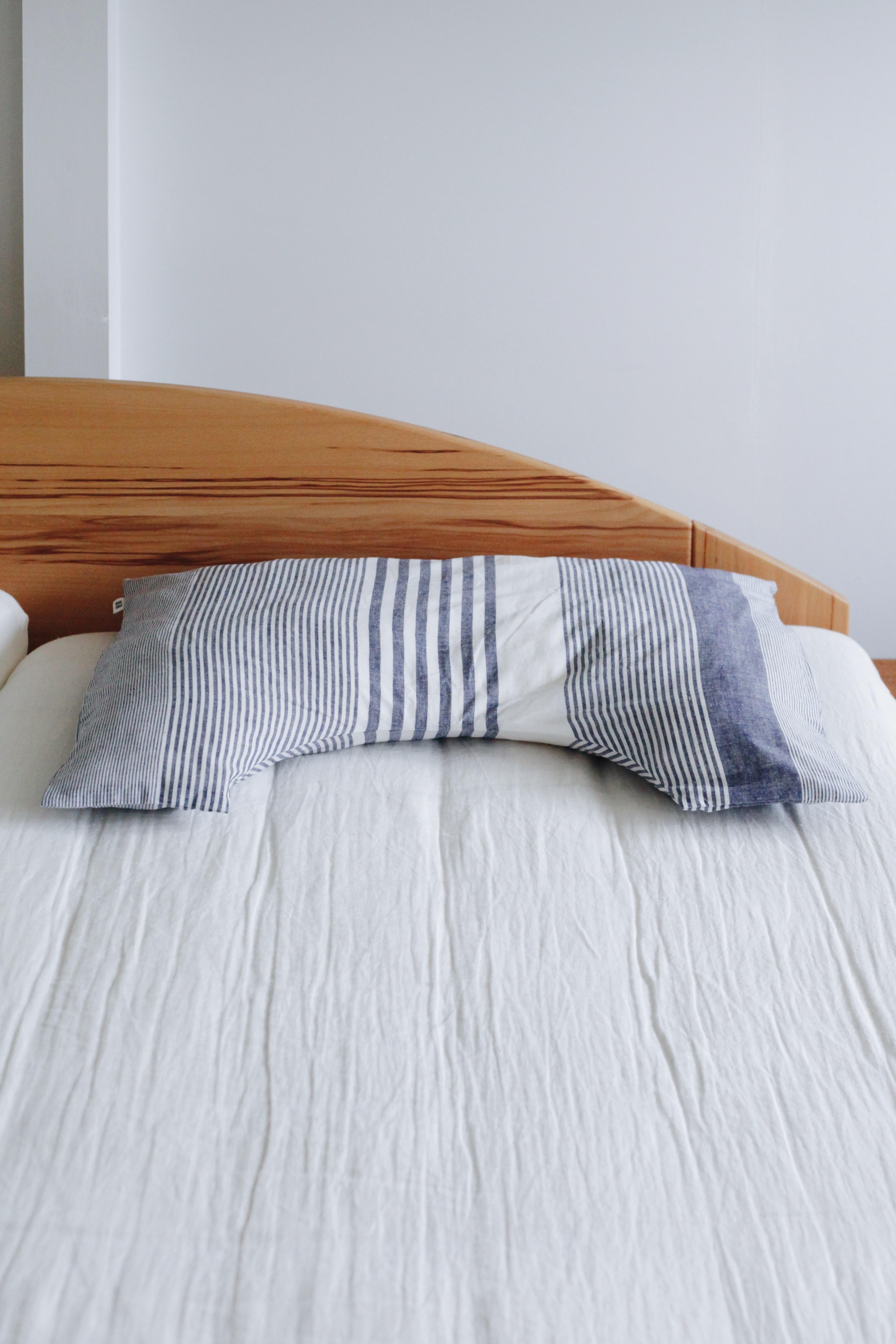 【眠家】 U字 枕カバー(レギュラーサイズ)/マルチストライプ カディコットン 枕カバー