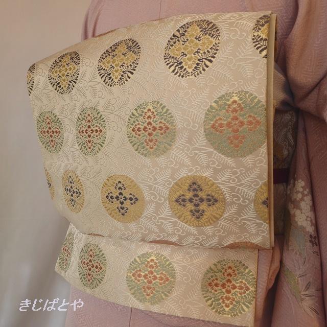 正絹 アイボリーに丸紋の袋帯