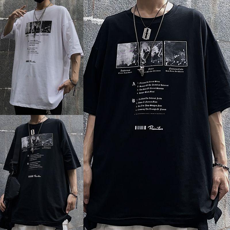 ユニセックス Tシャツ 半袖 メンズ レディース ラウンドネック 英字 フォト プリント オーバーサイズ 大きいサイズ ルーズ ストリート