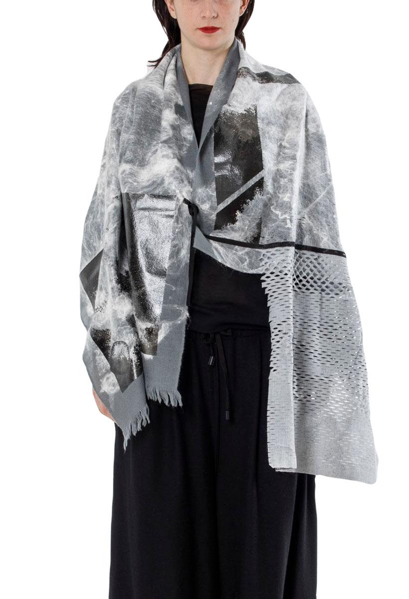 [着るストール]DRESS SCARF【WOOLxSILKウールxシルク】ドレススカーフ  ニードルパンチKABUKUSILVER GRAY   2187[送料/税込]