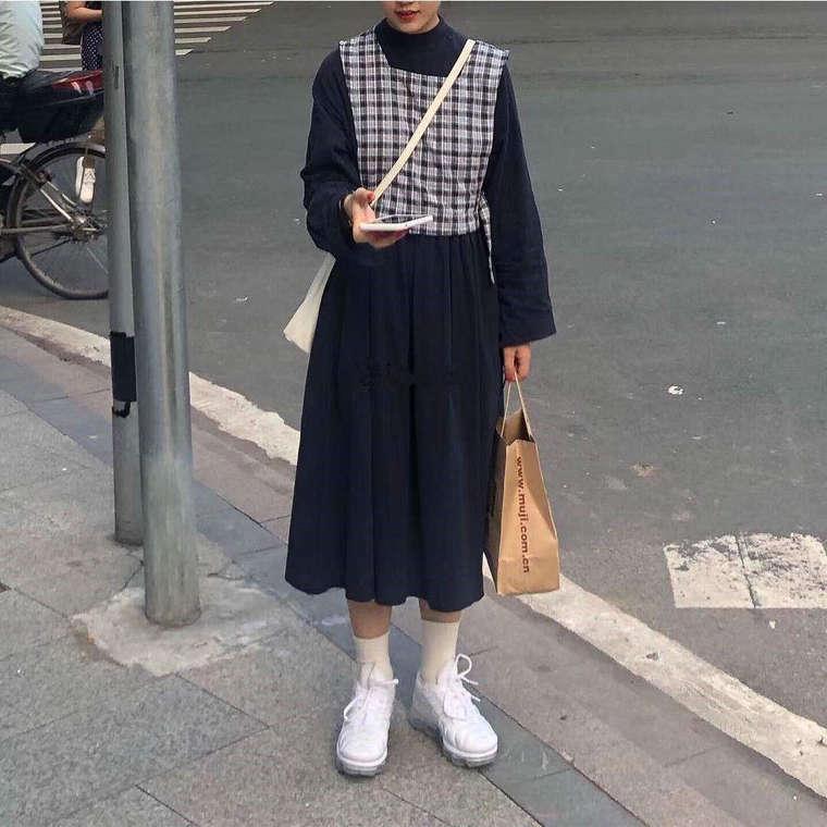 【送料無料】 大人可愛い ワンピースコーデ♡ チェック柄 ベスト × ハイネック 長袖 ワンピース セットアップ