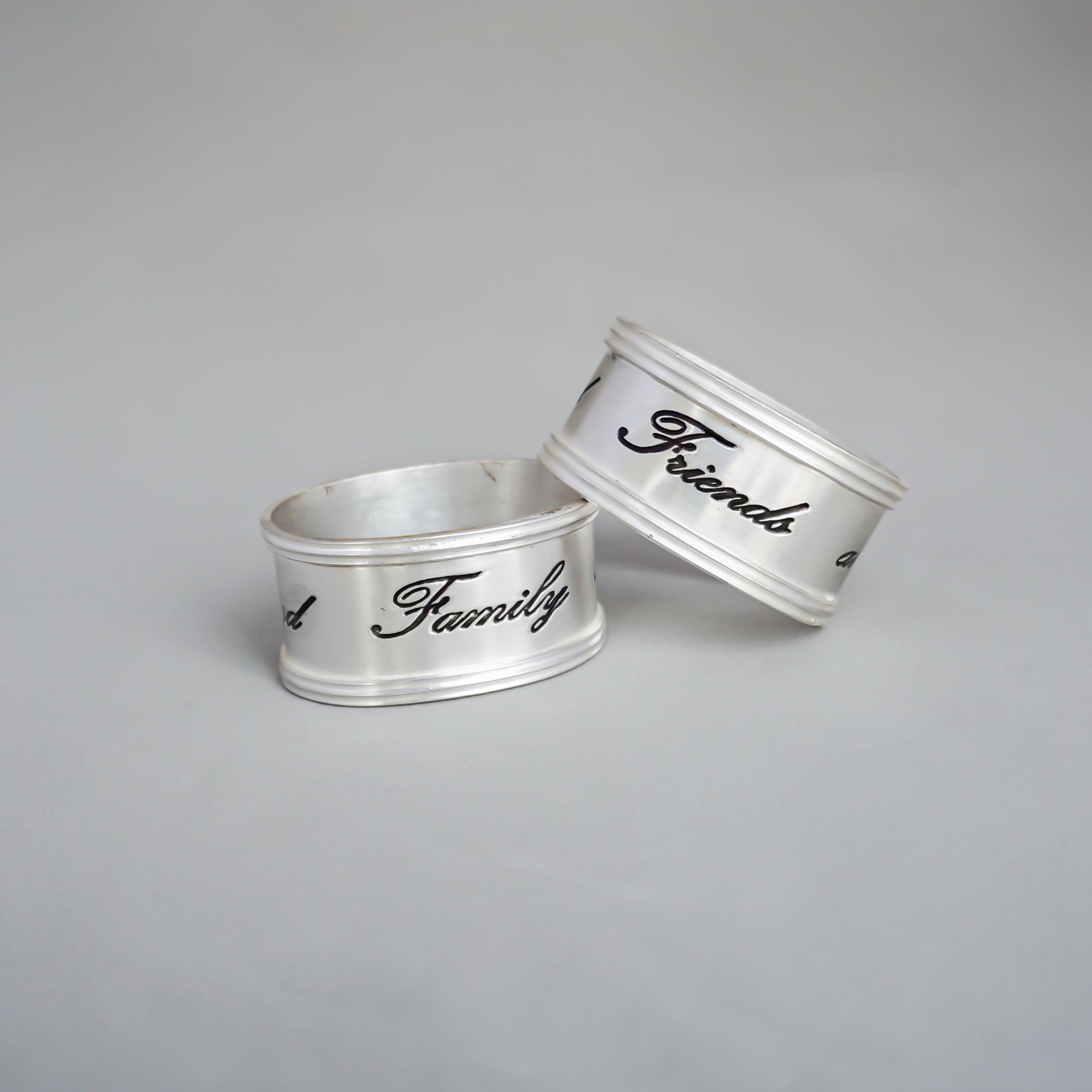 アンティークシルバーナプキンリング 1peace(Antique Silver Sentiment Napkin Rings)