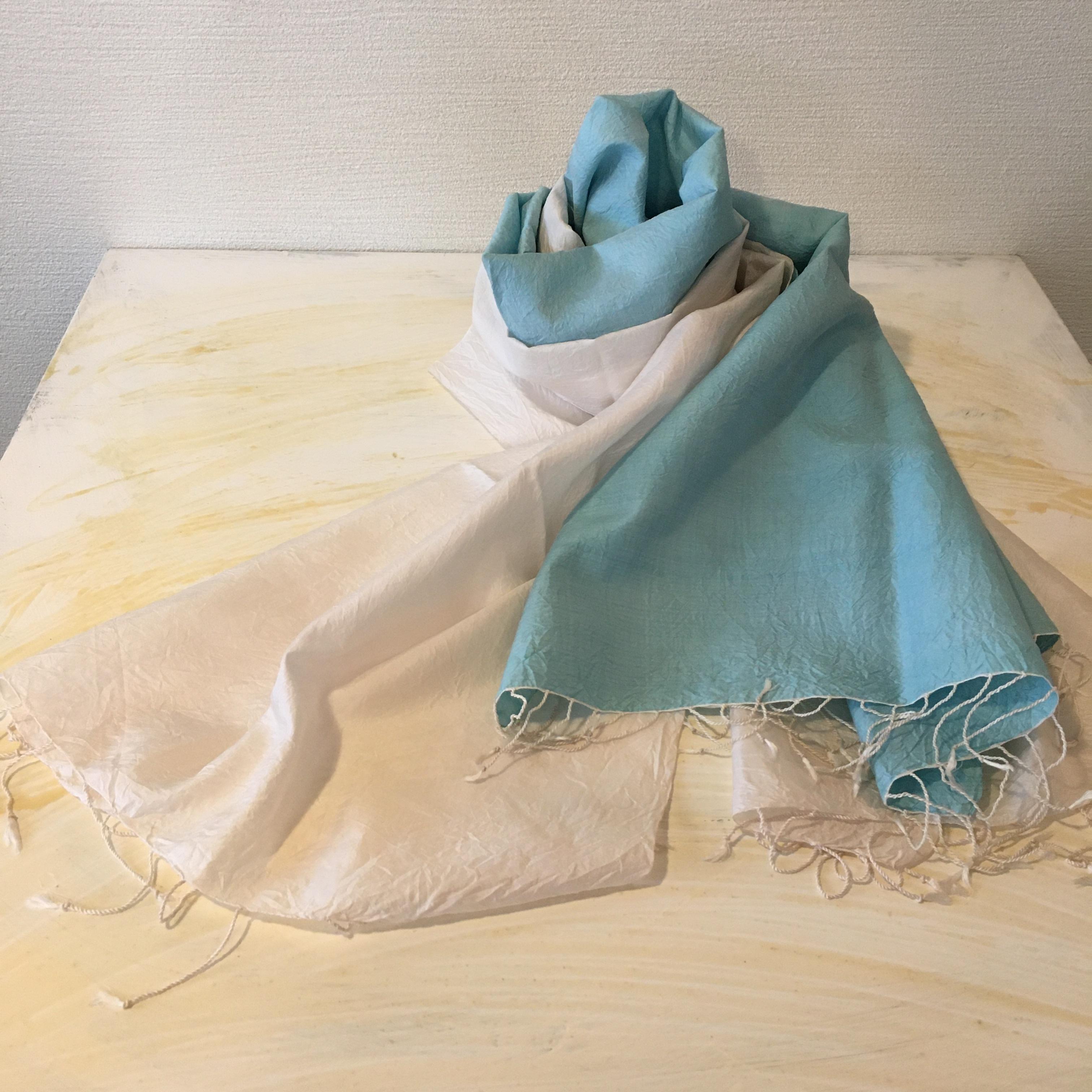 青×白 二枚セット カンボジアシルクショール