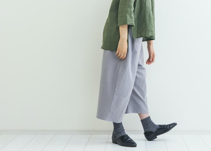 【期間限定受注】コットンリネンワイドパンツ gray