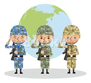 イラスト素材:多国籍な軍人のイメージ/地球バック(ベクター・JPG)