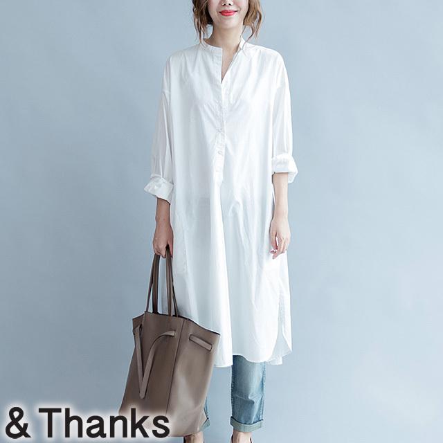 母の日 春コーデ大人綺麗 ノーカラーシャツドレス 1カラー 1サイズ