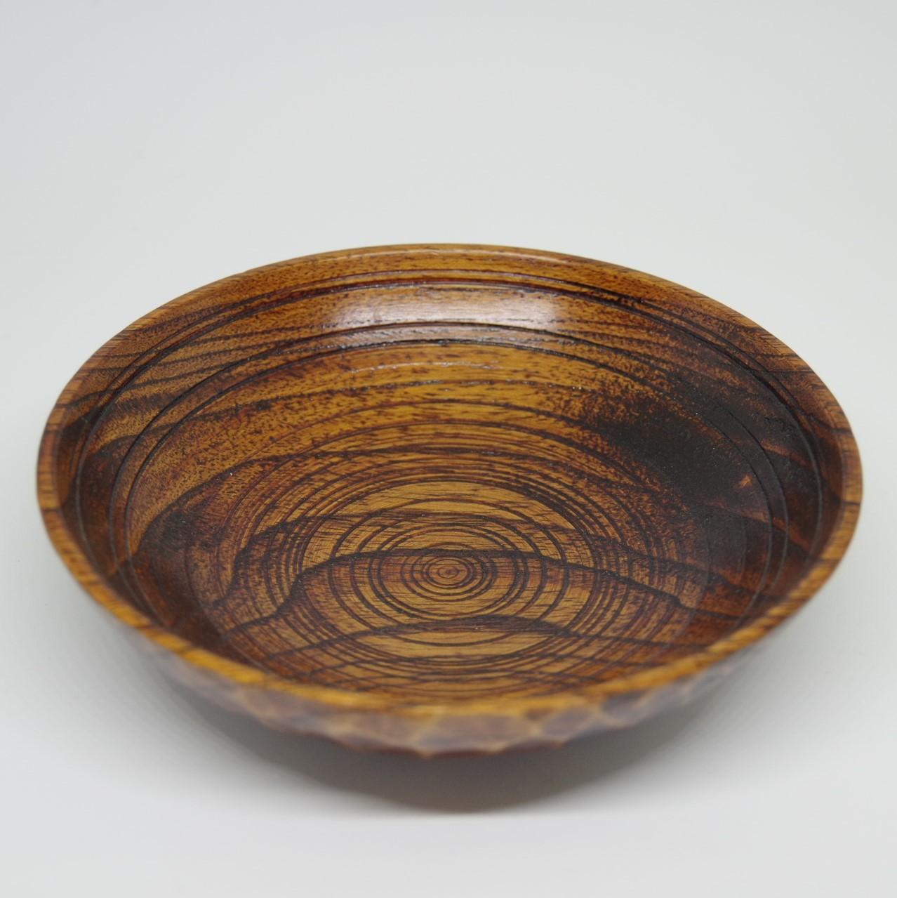 沖縄の木工【あさと木漆工房】網掛け皿 5寸