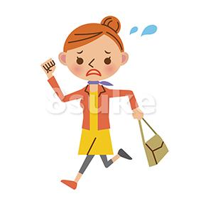 イラスト素材:慌てた表情で走る女性(ベクター・JPG)