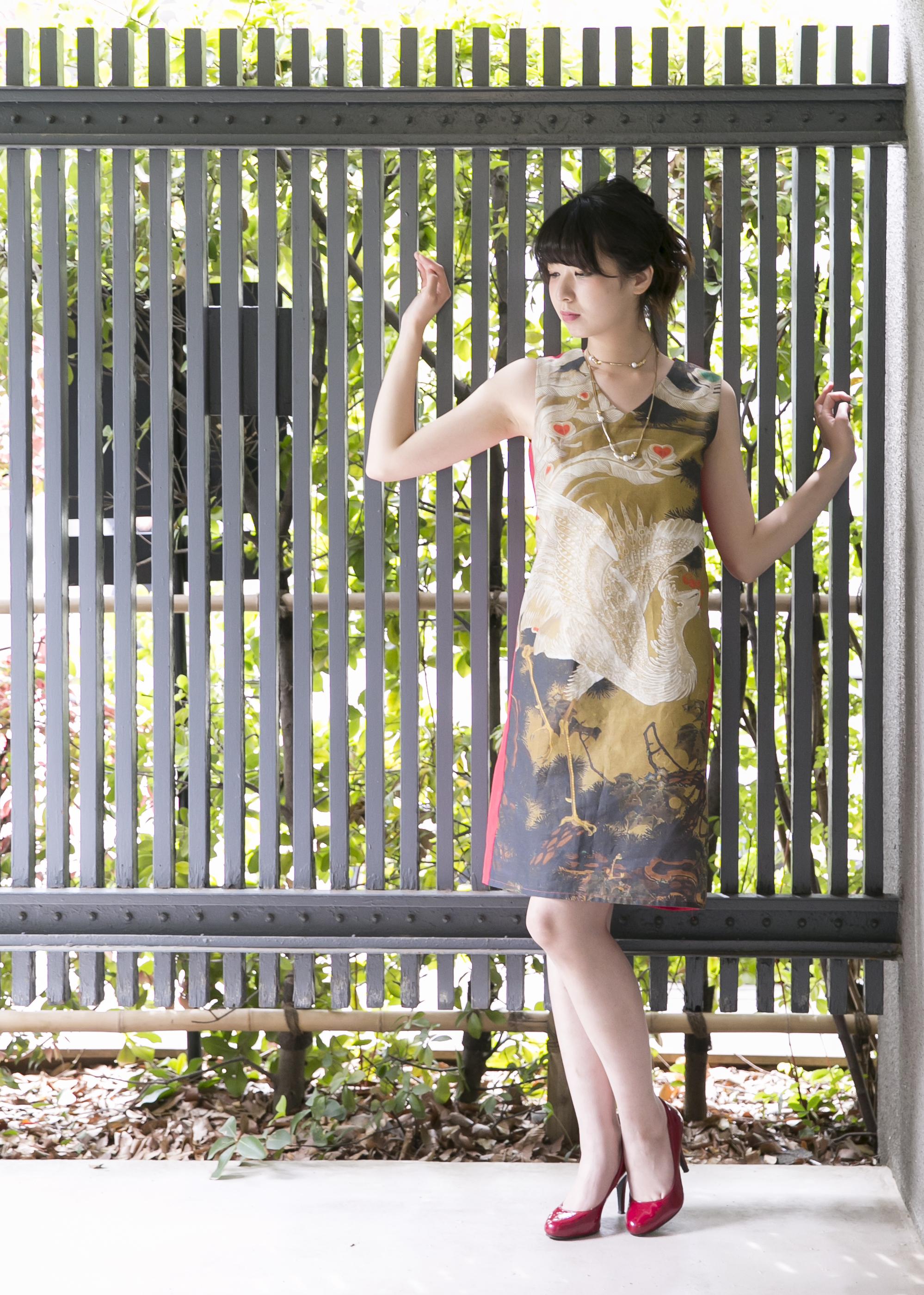 """伊藤若冲ドレス「動植綵絵 老松白鳳図」""""Old Pine Tree and White Phoenix"""""""