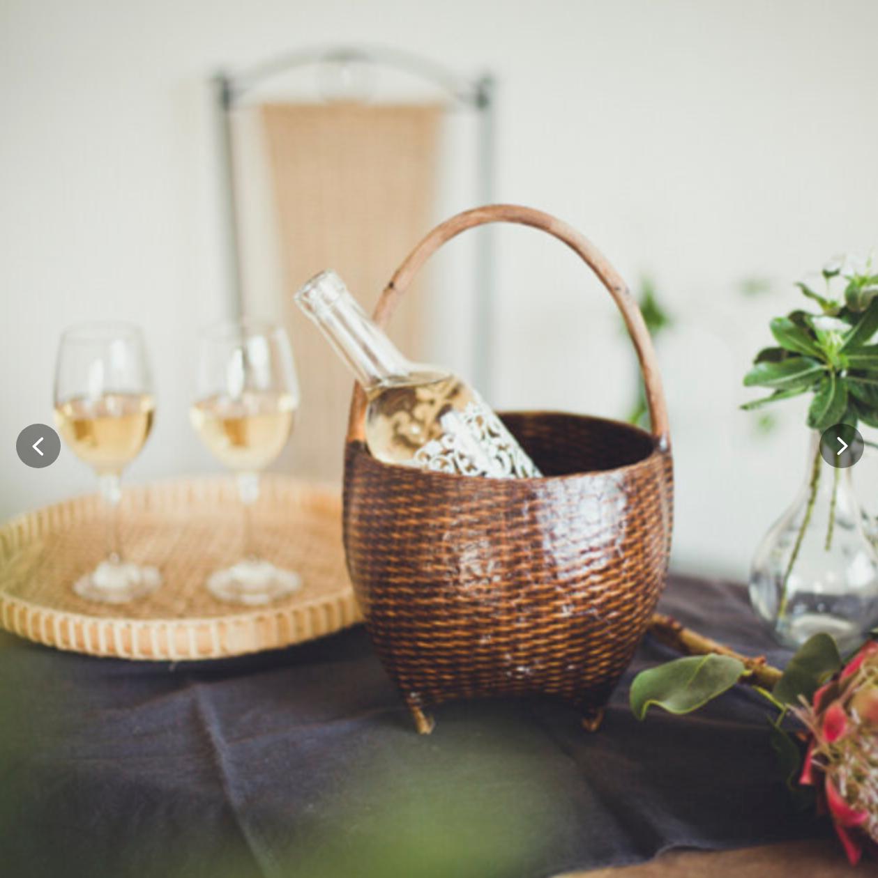 【訳あり】クイ族の花活けカゴ ダークカラー ワインクーラー ウォータープルーフ
