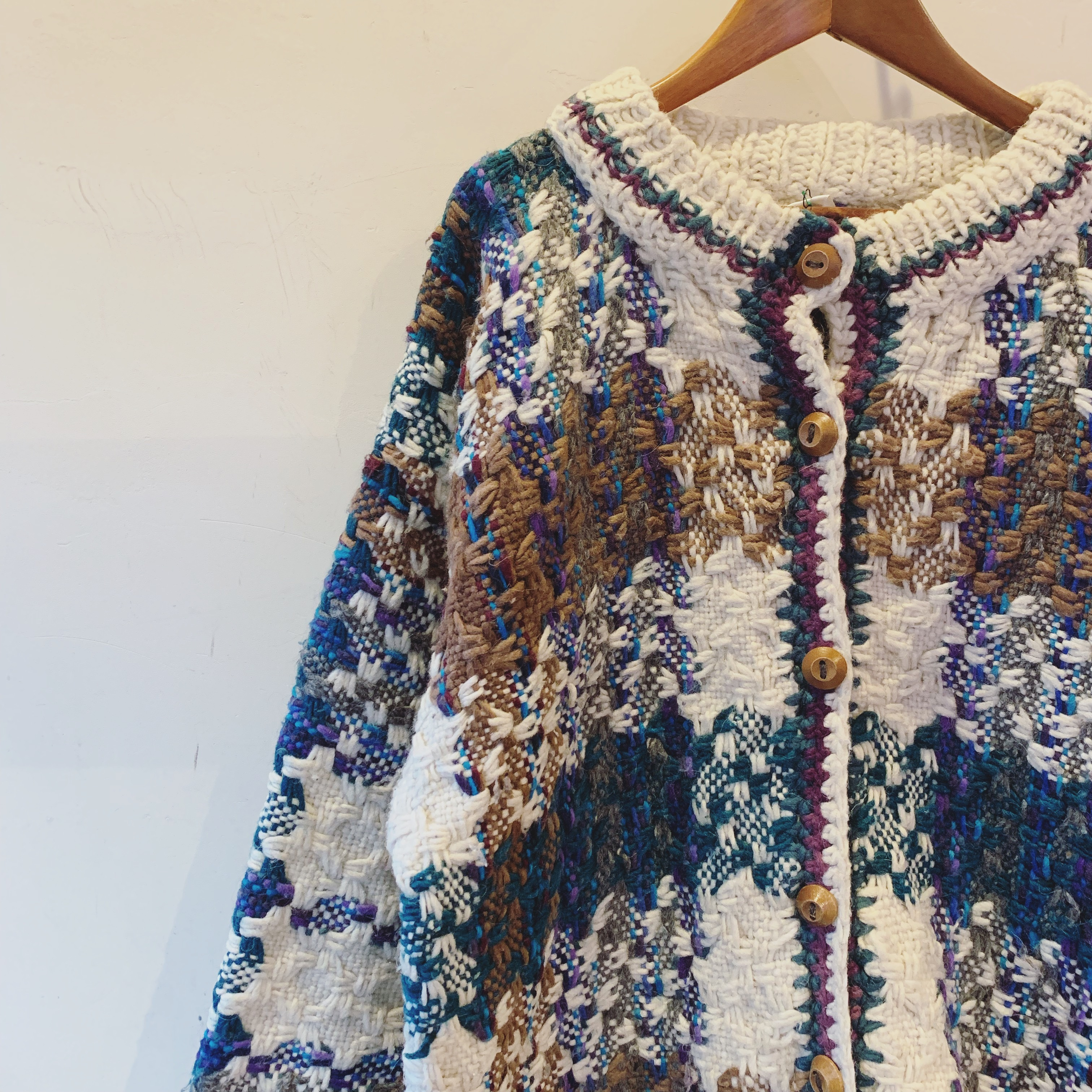 vintage wide sized design knit cardigan