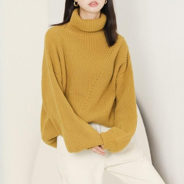 人気のお品 ニット セーター ゆったり タートルネック シンプル ワイド袖 カジュアル ガーリー キャンパス オフィス