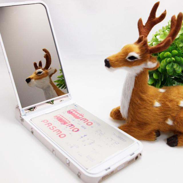 【ミラー付】iPhoneケース ★ICカードフォルダー搭載など多機能タイプ★幸せを呼ぶすずらん