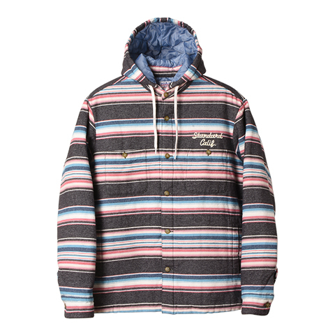 STANDARD CALIFORNIA #SD Southwest Flannel Quilted Hood Jacket Black