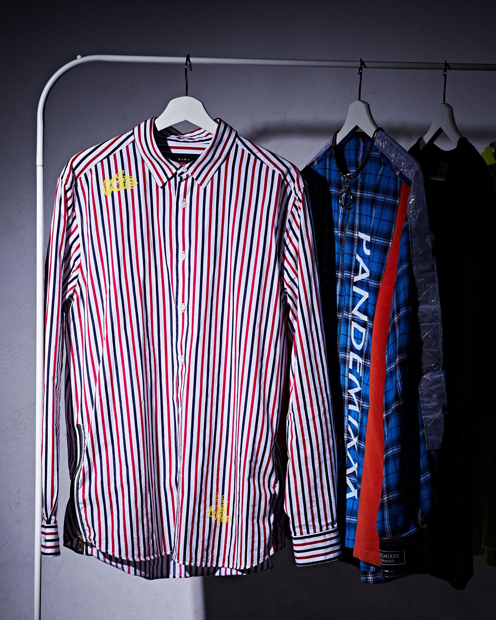 Printed striped shirt