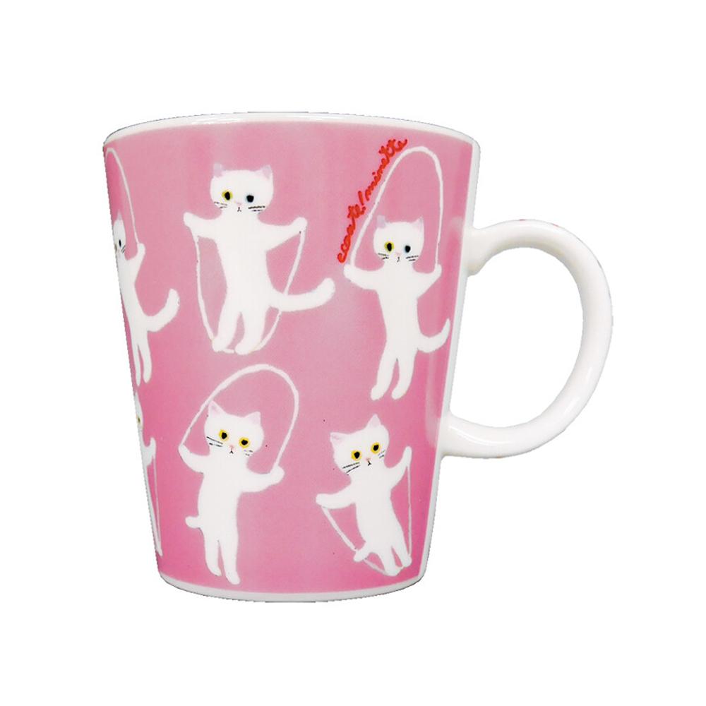猫マグカップ(エクートミネットスマートマグ)白ねこのなわとび