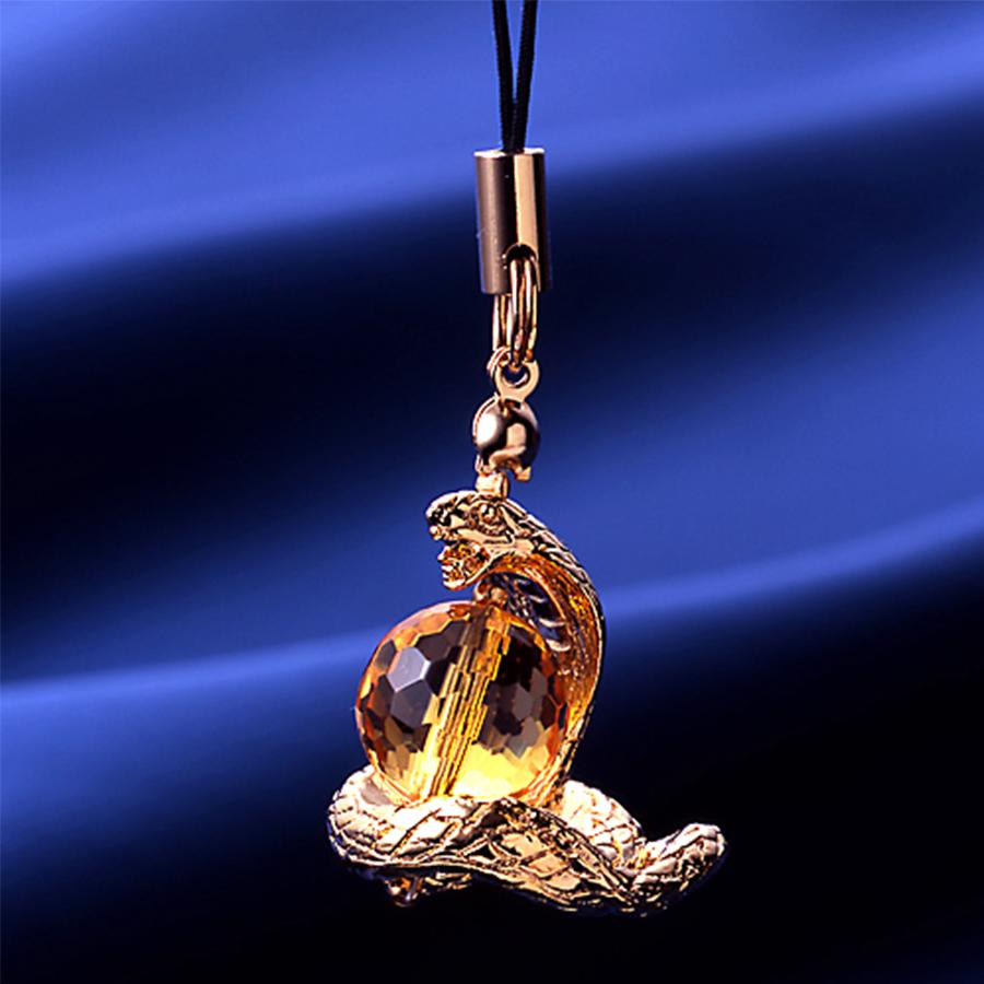 【開運・金運上昇】天然石 爆裂黃水晶 蛇神パワーブレスレット<吉兆蛇ストラップ付>(12mm-8mm)