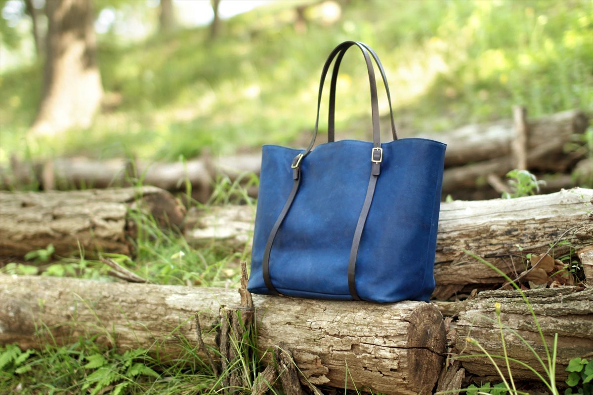 藍染革[migaki] トートバッグ