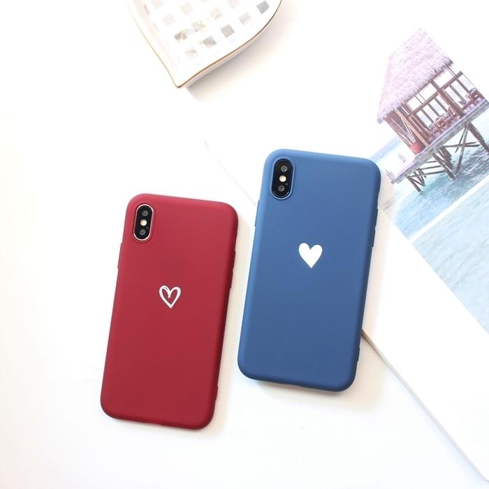 【お取り寄せ商品、送料無料】2カラー キュート ハート マット ソフト iPhoneケース iPhone11