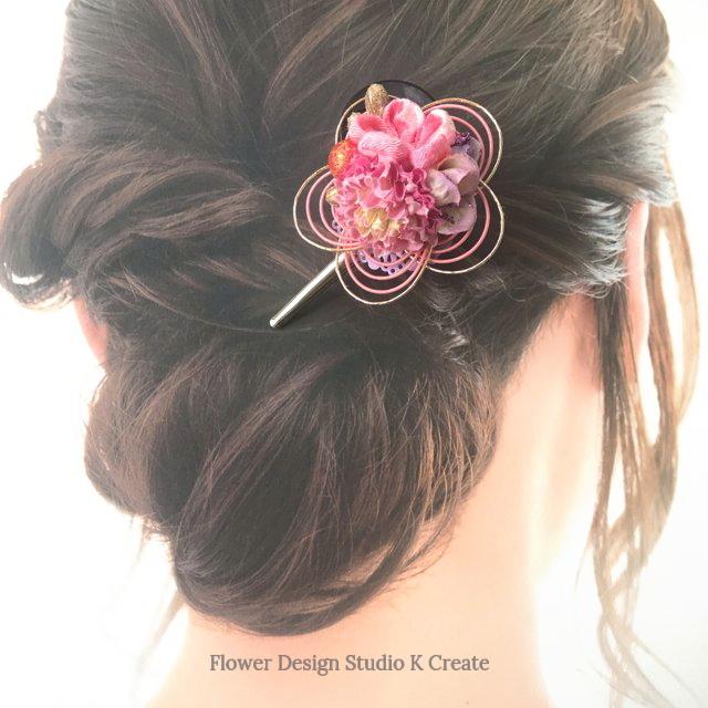 水引と和のお花のヘアクリップ つまみ細工 口ばしクリップ ナチュラル 和装髪飾り ヘアクリップ