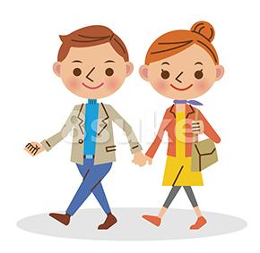 イラスト素材:手をつないで歩く若いカップル(ベクター・JPG)