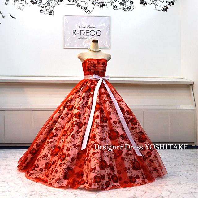 【オーダー制作】ウエディングドレス(パニエ無料) 赤チュール&花柄 披露宴/お色直し ※制作期間3週間から6週間