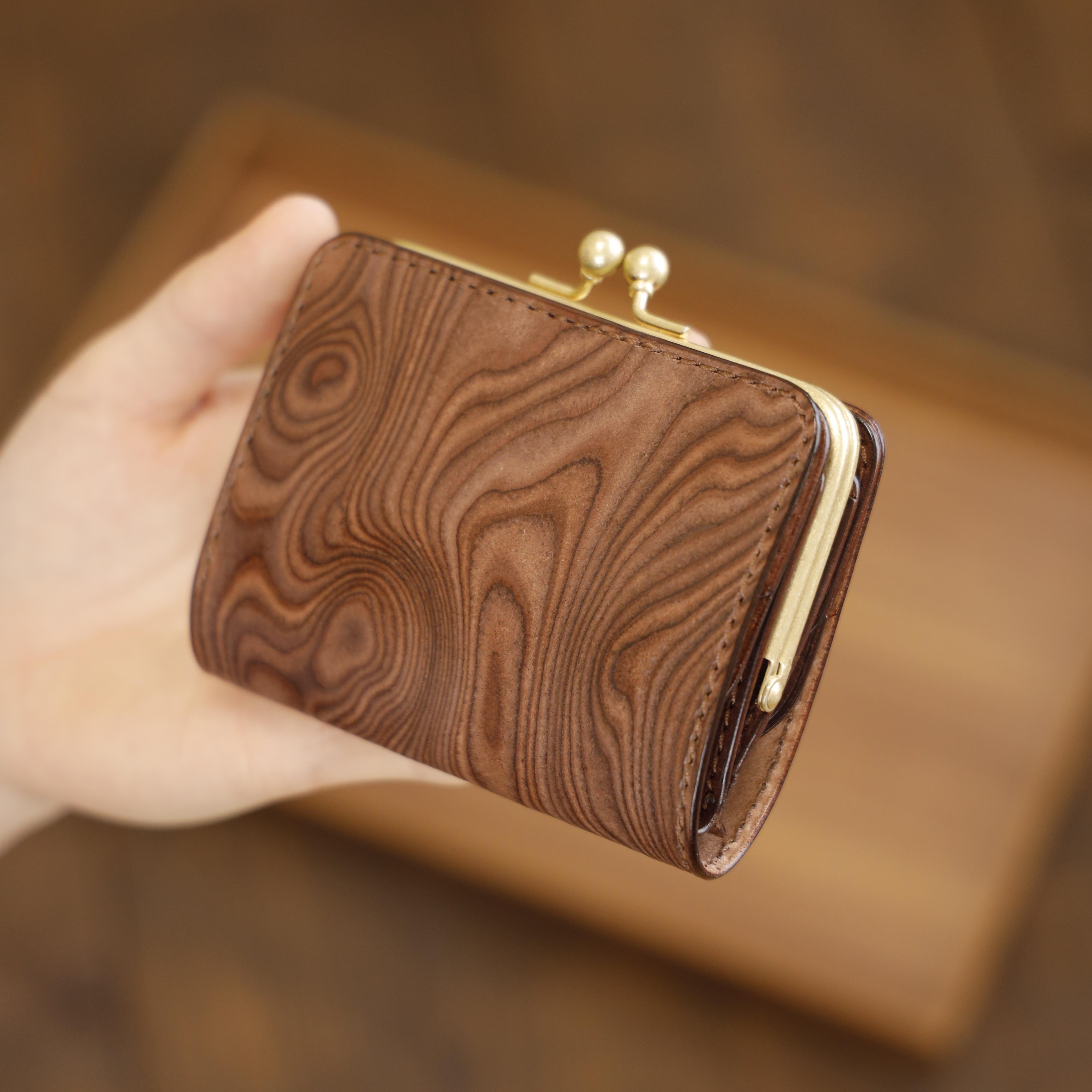 【限定品】小さいがま口財布 / Wood pattern Brown