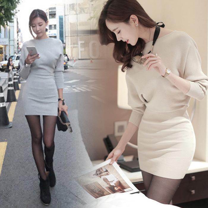「ワンピース」韓国オルキャン気質エレガントハイウエストスリム秋冬3色ファッションセクシーワンピース