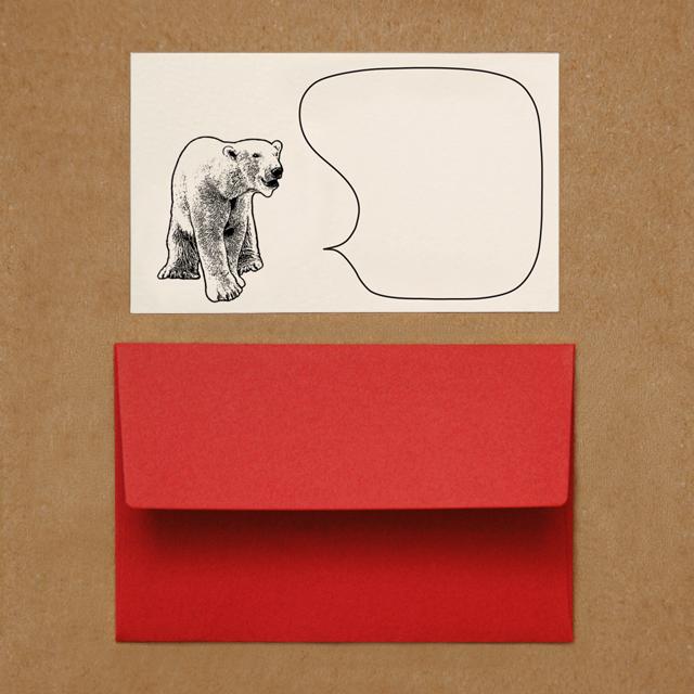 封筒つきメッセージカード(シロクマ)