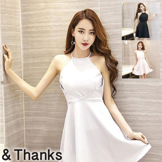 ドレス特集 ホルターノースリーブドレス 3カラー 3サイズ