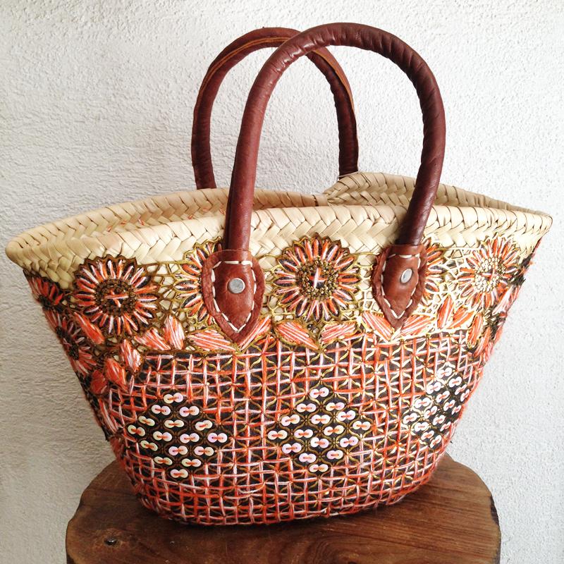 かごバッグ/花刺繍/23/marche bag/MOROCCO モロッコ