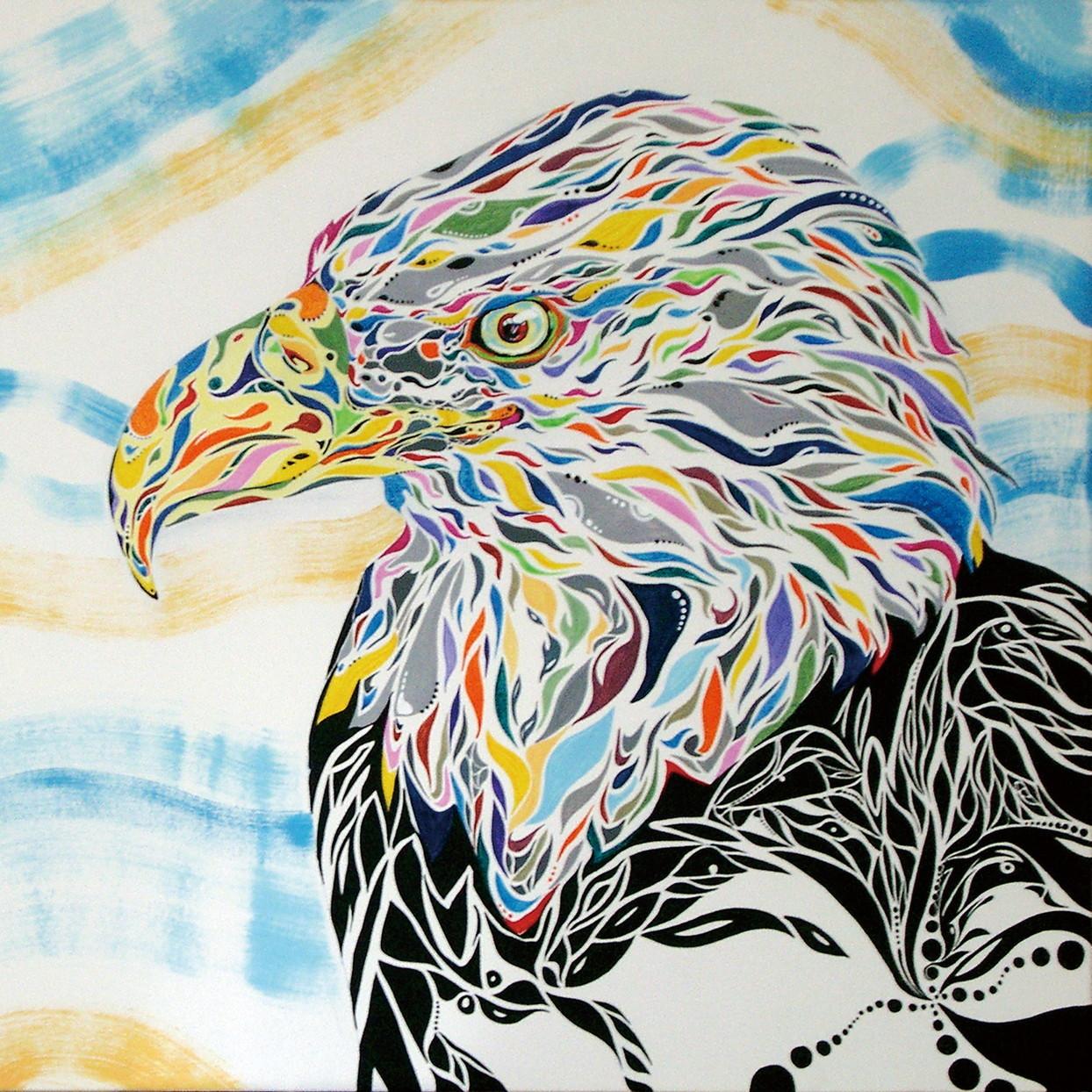 絵画 インテリア アートパネル 雑貨 壁掛け 置物 おしゃれ 鷲 鳥 動物 現代アート ロココロ 画家 : nob 作品 : windeagle