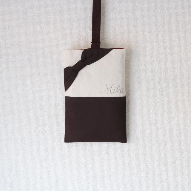 [mama girl2017春号掲載] ネーム刺繍入りのブラウンリボンのシューズケース