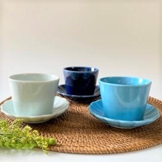 Colorful Color カップ&ソーサー3個セット(COOL 青白磁・ターコイズブルー・ルリ)