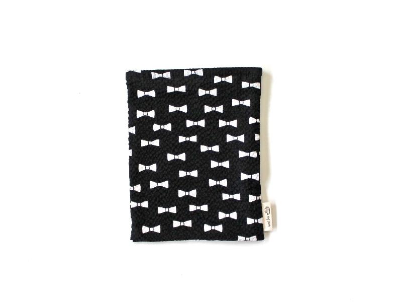 ハリネズミ用寝袋 S(夏用) 綿リップル×スムースニット リボン ブラック