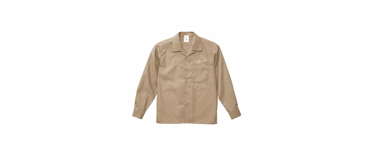 coguchi open collar shirt (BEG/WH)