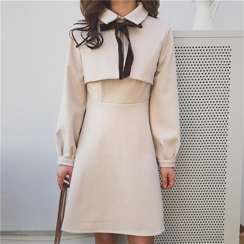 ベージュダウンミニショートドレス