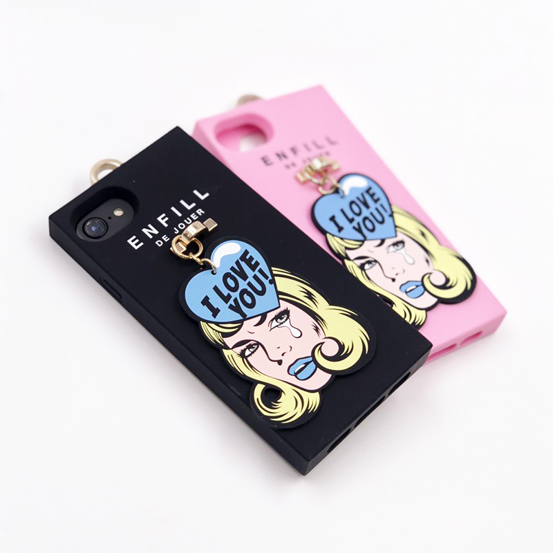 "HANDING CASE with PRINTED CHARM ""GIRL'S TALK 「I LOVE YOU!」"" for iPhone8/7/6s/6"