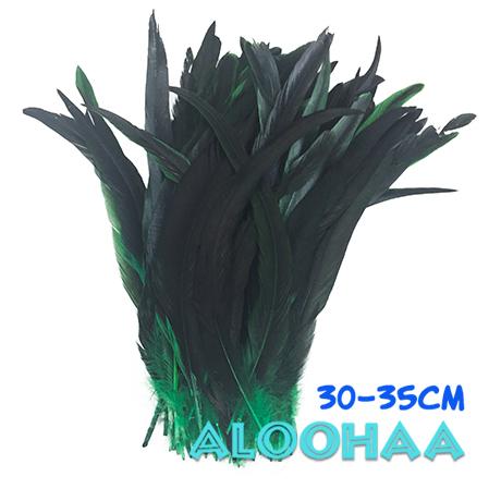 ロングフェザー 【緑】30~35cm タヒチアン 衣装 材料 ルースターテール 染め 羽根