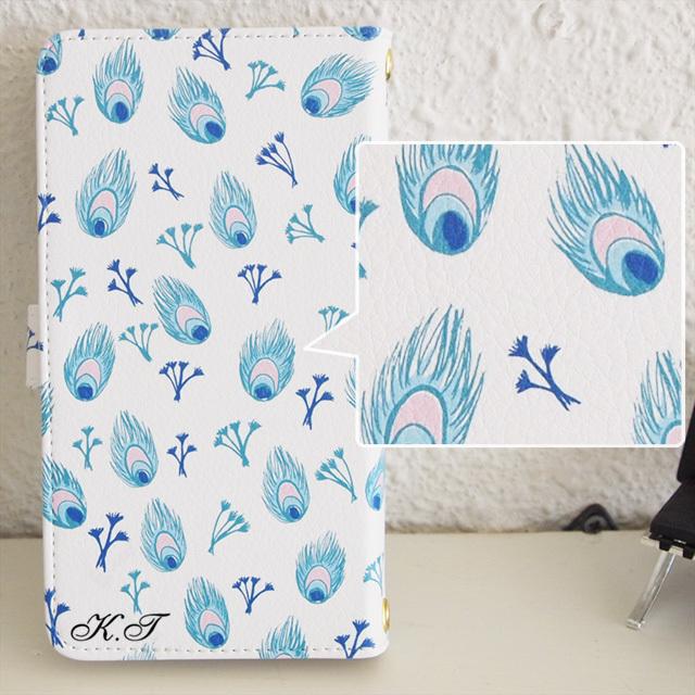 *名入れ*手帳型スマホケース【Peacock Flower(クジャクの花)】iPhone&Android