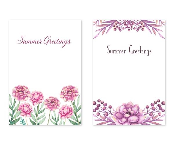 花の水彩画|暑中お見舞い/ポストカードのテンプレート2点セット
