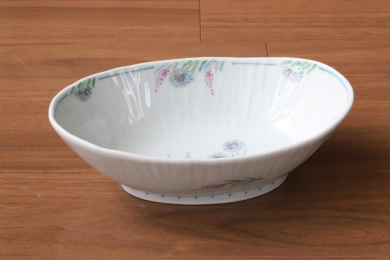 藍水 ノゲイトウ・ヤグルマソウ 楕円鉢 うつわ藍水 波佐見焼