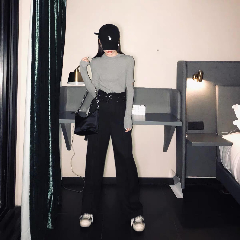 w belt black loose pants