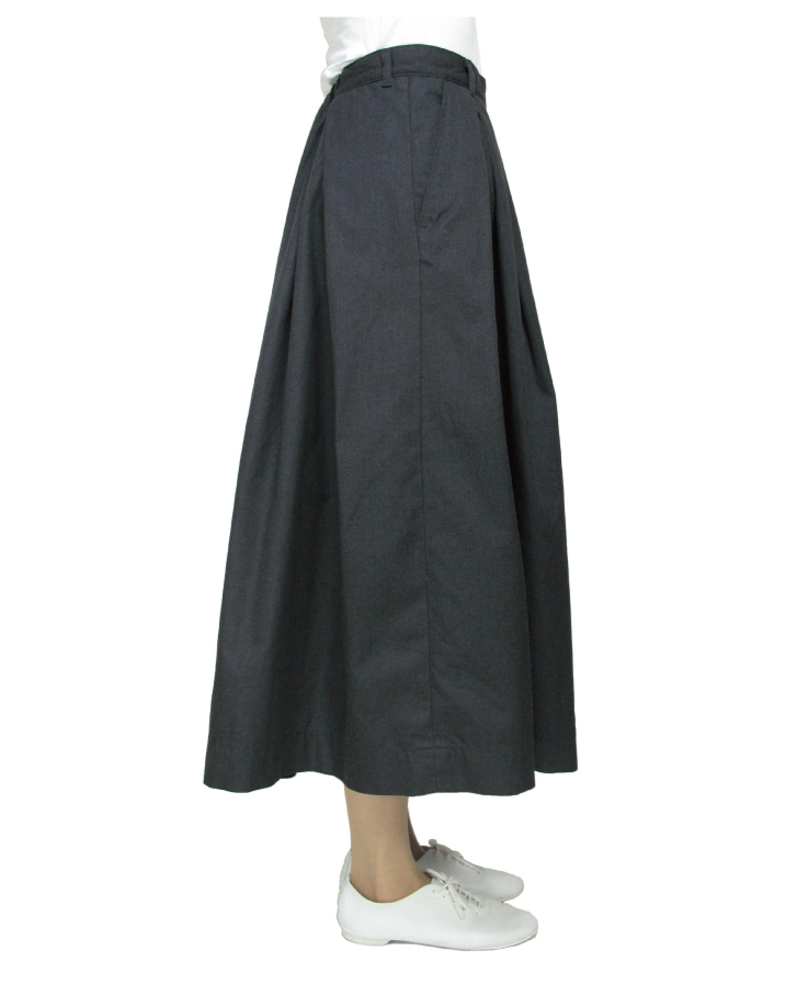 T/C chino long tuck-skirt Lot:35418 - 画像5