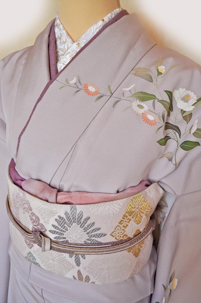 レンタル着物161「訪問着レンタル」極薄紫色地に菊と牡丹がのびやかな柄【往復送料無料】 - 画像3