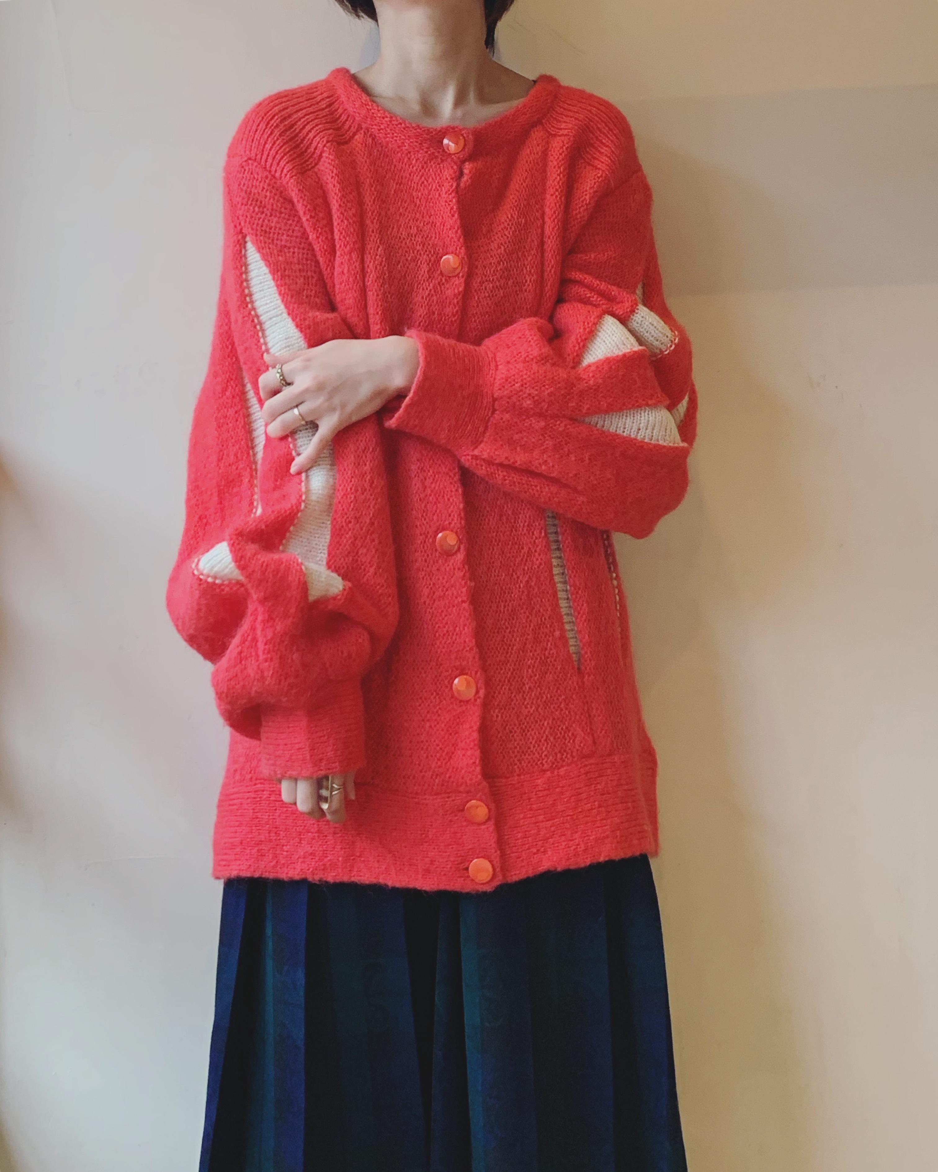 vintage design balloon sleeve knit cardigan