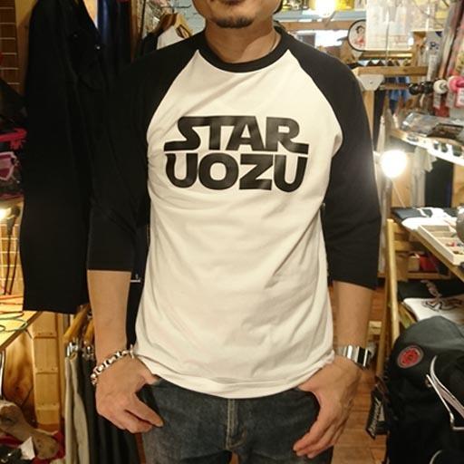 STAR UOZU 七分袖ラグランTシャツ ホワイト×ブラック
