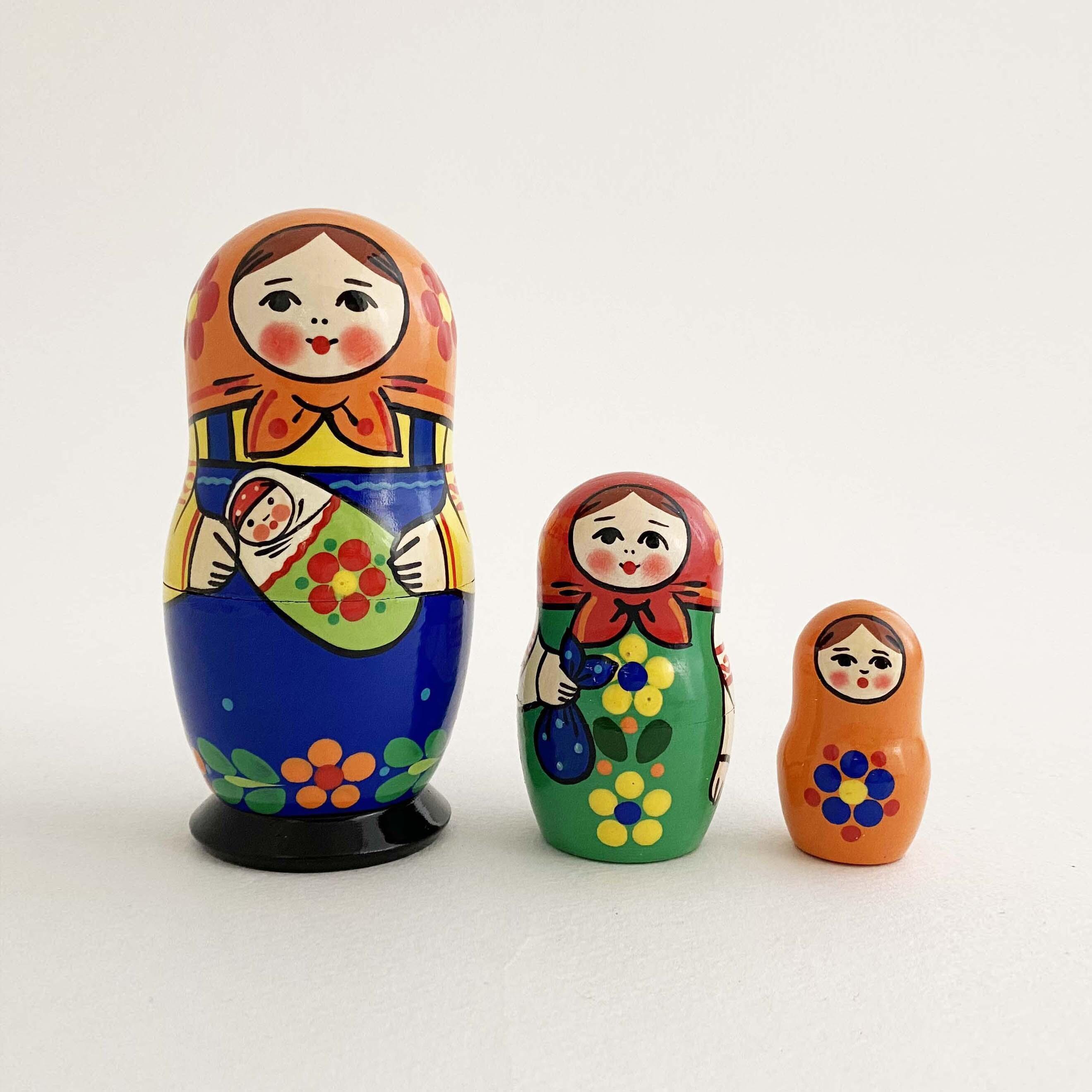 母の日のお母さんマトリョーシカ/3個組(セルギエフ産)